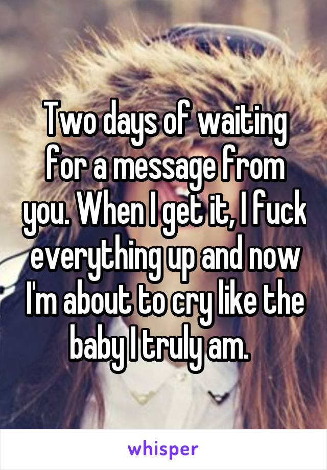 Two days of waiting for a message from you. When I get it, I fuck everything up and now I'm about to cry like the baby I truly am.