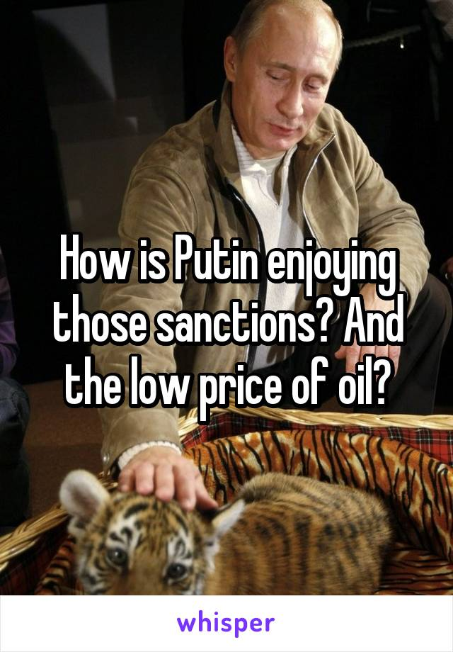 How is Putin enjoying those sanctions? And the low price of oil?