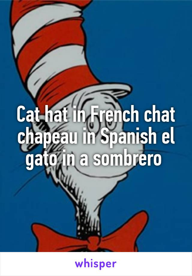 Cat hat in French chat chapeau in Spanish el gato in a sombrero