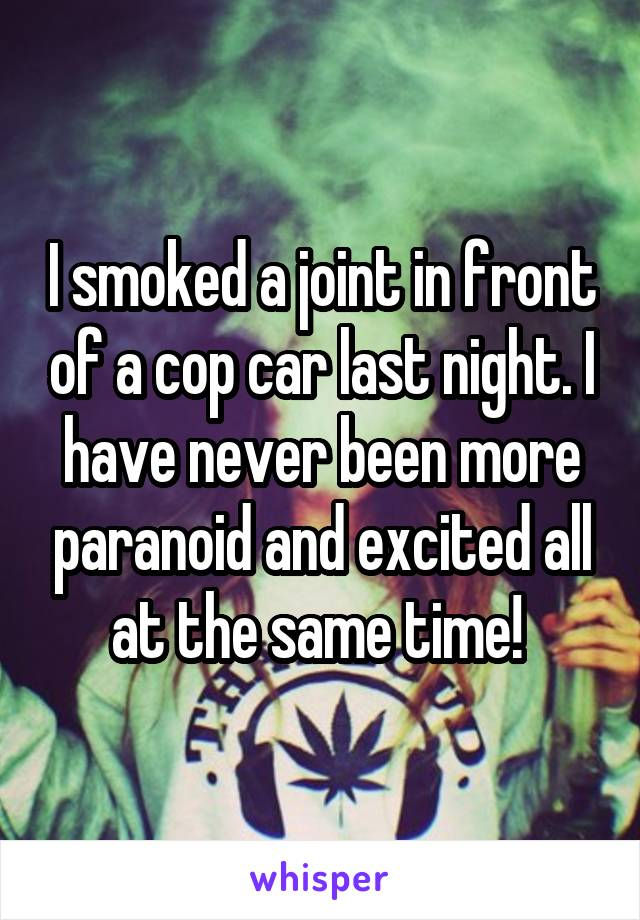 I smoked a joint in front of a cop car last night. I have never been more paranoid and excited all at the same time!