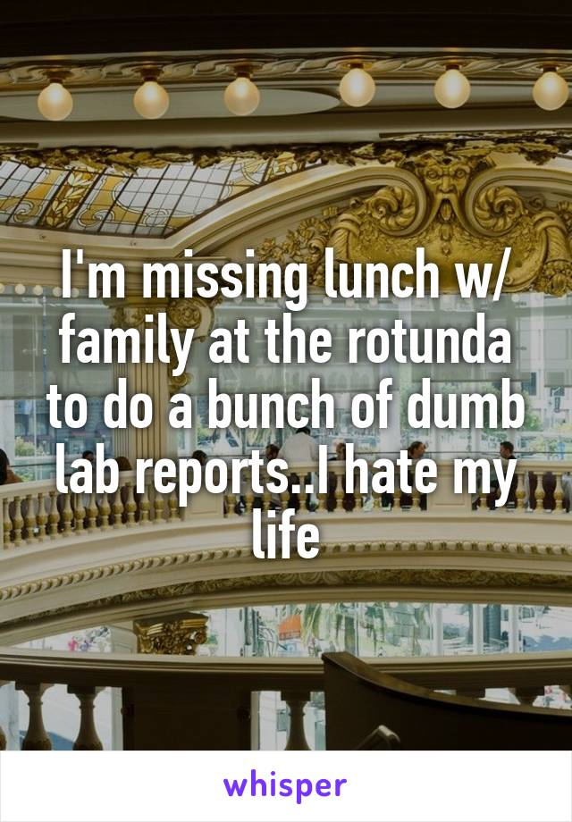 I'm missing lunch w/ family at the rotunda to do a bunch of dumb lab reports..I hate my life