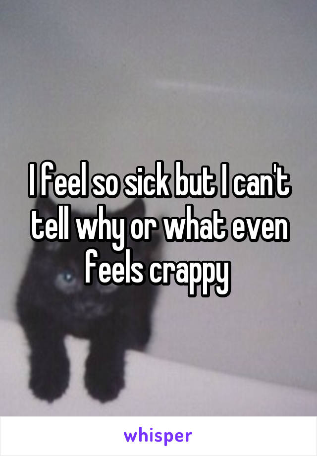 I feel so sick but I can't tell why or what even feels crappy