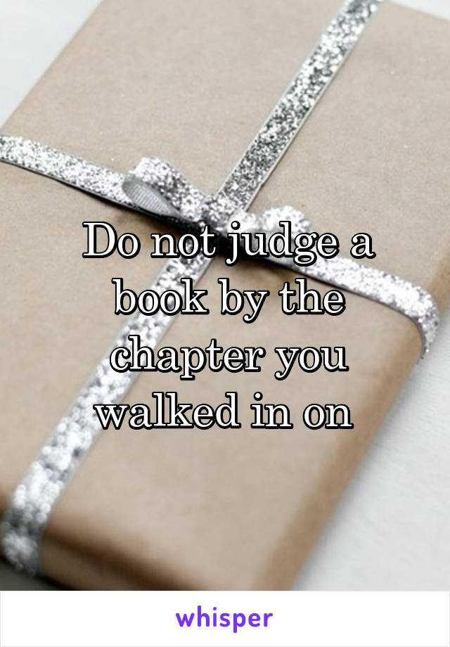 Do not judge a book by the chapter you walked in on