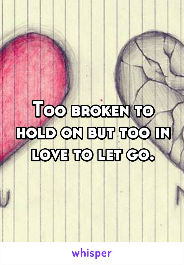 Too broken to hold on but too in love to let go.