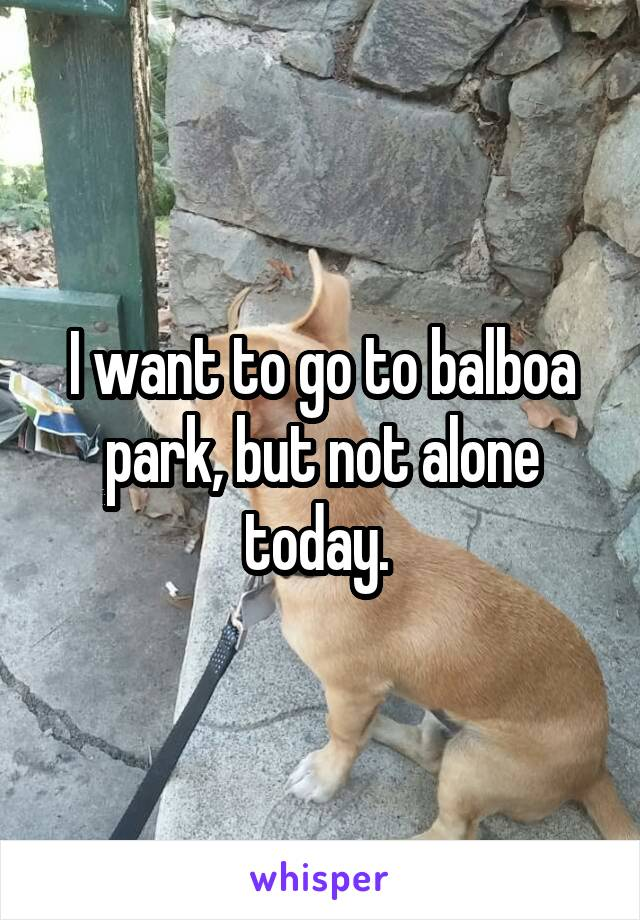 I want to go to balboa park, but not alone today.
