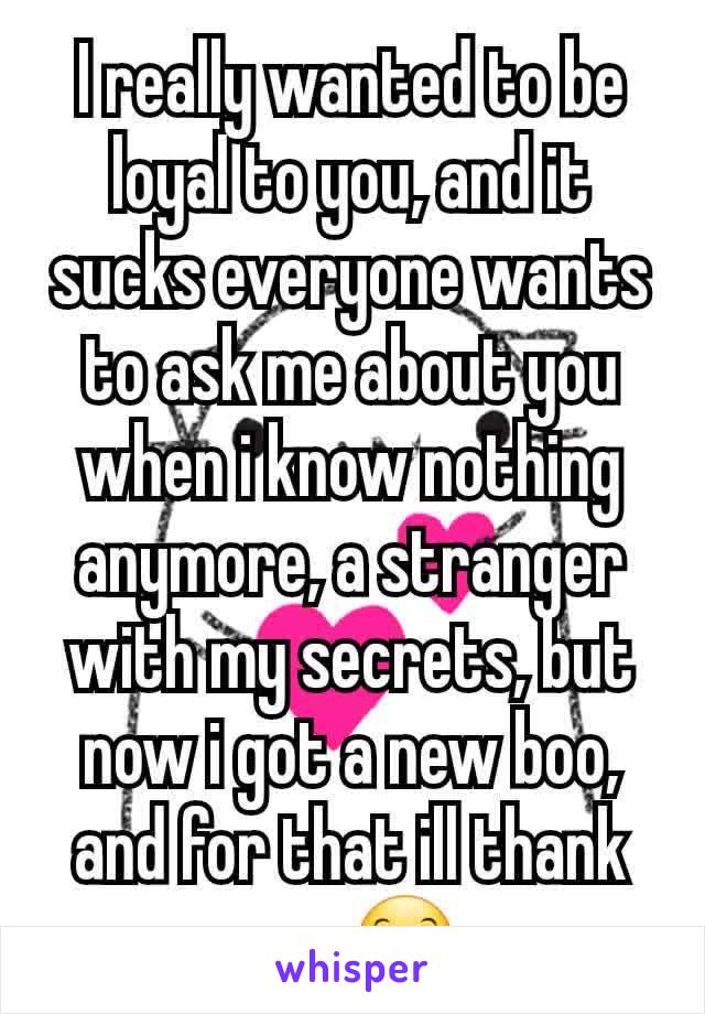 I really wanted to be loyal to you, and it sucks everyone wants to ask me about you when i know nothing anymore, a stranger with my secrets, but now i got a new boo, and for that ill thank you 😊