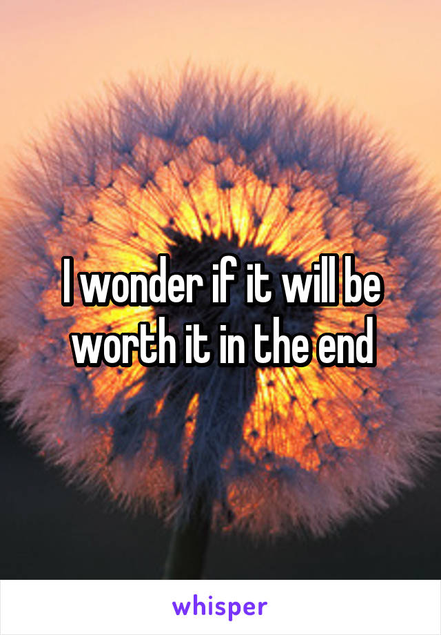 I wonder if it will be worth it in the end