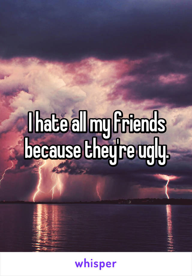 I hate all my friends because they're ugly.