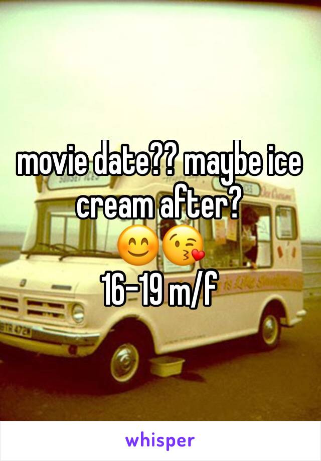 movie date?? maybe ice cream after?  😊😘 16-19 m/f