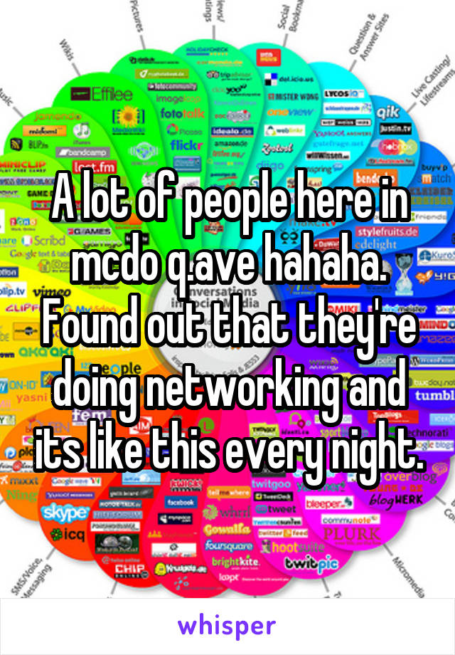 A lot of people here in mcdo q.ave hahaha. Found out that they're doing networking and its like this every night.