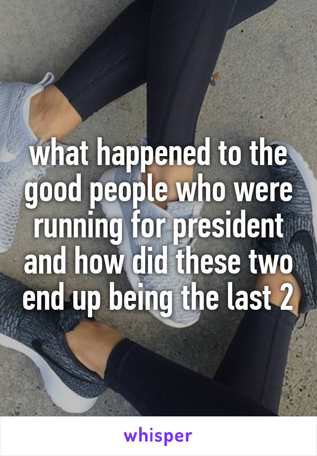 what happened to the good people who were running for president and how did these two end up being the last 2