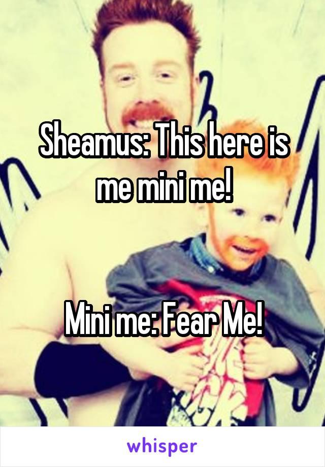 Sheamus: This here is me mini me!   Mini me: Fear Me!