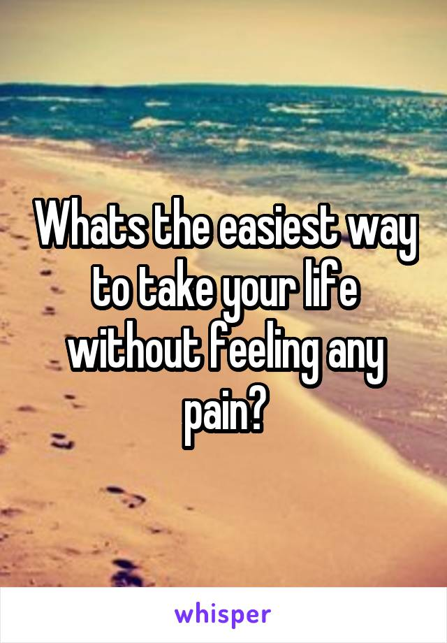 Whats the easiest way to take your life without feeling any pain?