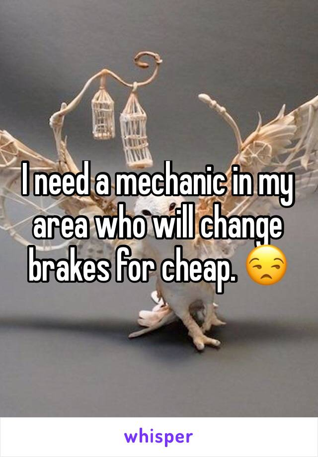 I need a mechanic in my area who will change brakes for cheap. 😒