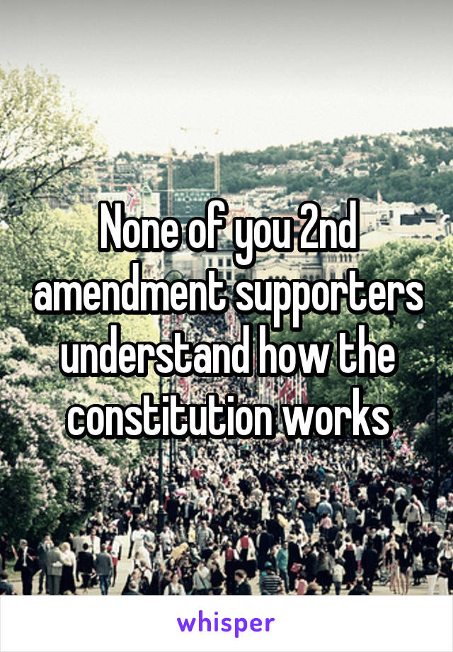 None of you 2nd amendment supporters understand how the constitution works