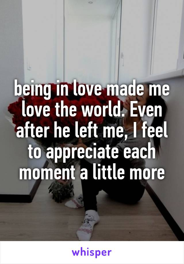 being in love made me love the world. Even after he left me, I feel to appreciate each moment a little more