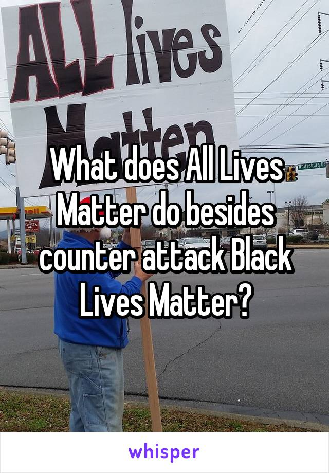 What does All Lives Matter do besides counter attack Black Lives Matter?