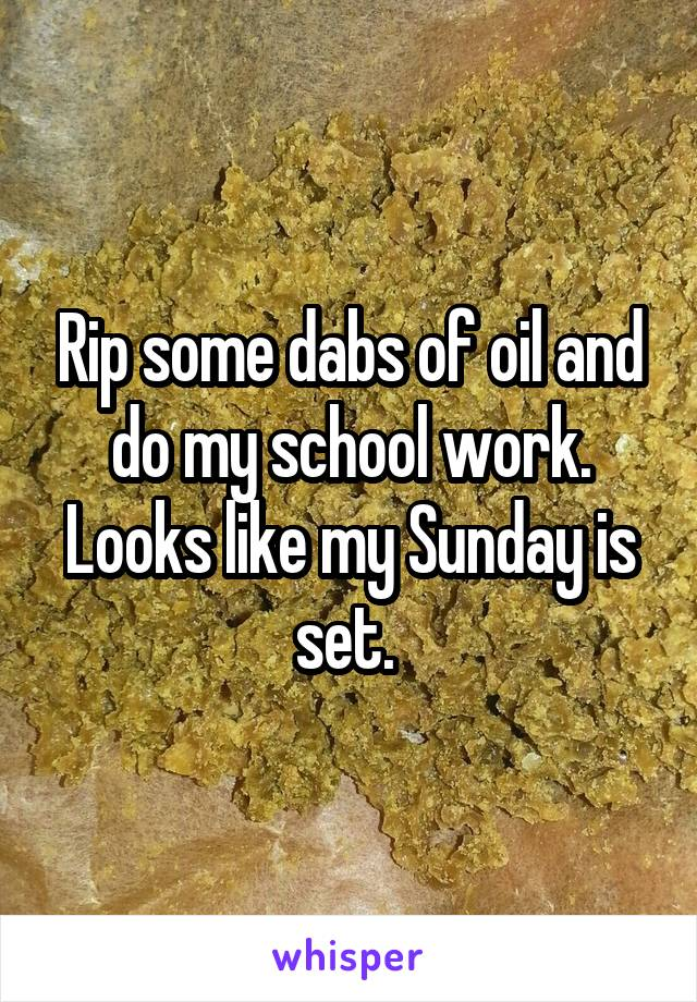 Rip some dabs of oil and do my school work. Looks like my Sunday is set.