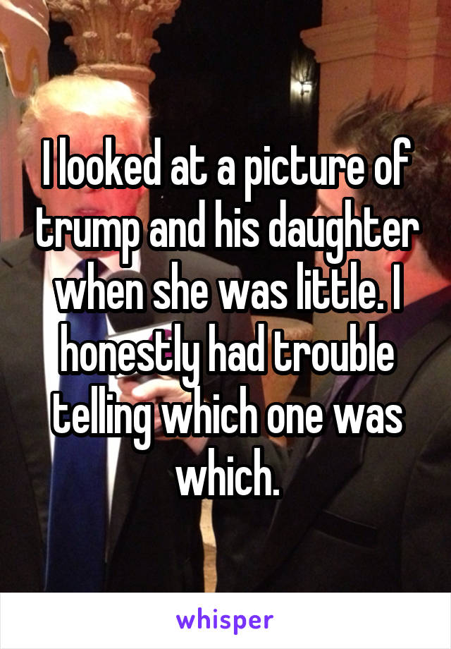 I looked at a picture of trump and his daughter when she was little. I honestly had trouble telling which one was which.