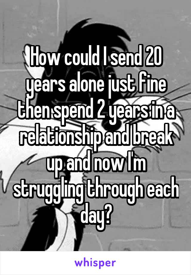 How could I send 20 years alone just fine then spend 2 years in a relationship and break up and now I'm struggling through each day?