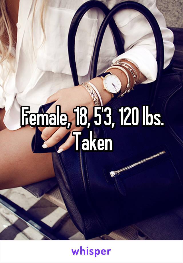 Female, 18, 5'3, 120 lbs. Taken
