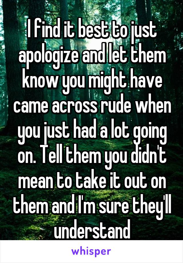I find it best to just apologize and let them know you might have came across rude when you just had a lot going on. Tell them you didn't mean to take it out on them and I'm sure they'll understand