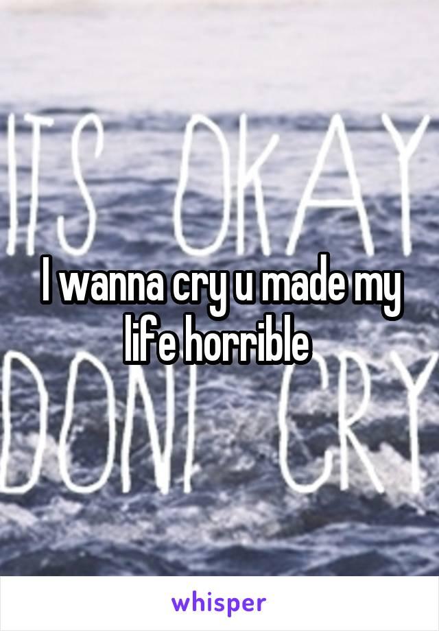 I wanna cry u made my life horrible