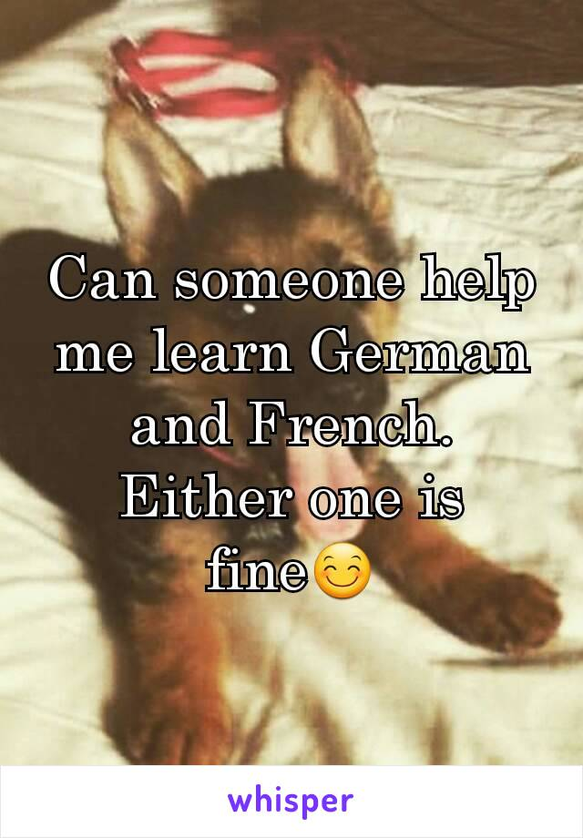 Can someone help me learn German and French. Either one is fine😊