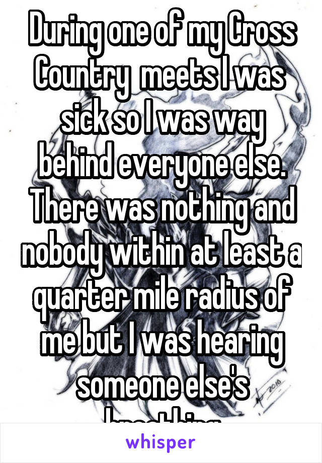 During one of my Cross Country  meets I was  sick so I was way behind everyone else. There was nothing and nobody within at least a quarter mile radius of me but I was hearing someone else's breathing