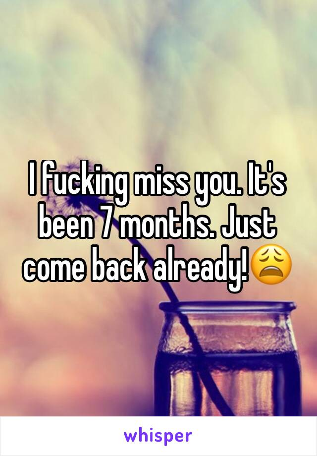 I fucking miss you. It's been 7 months. Just come back already!😩