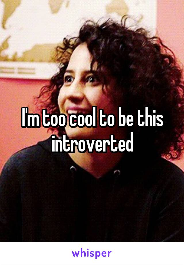 I'm too cool to be this introverted