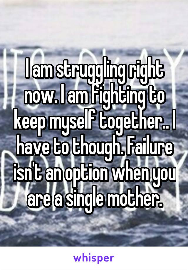 I am struggling right now. I am fighting to keep myself together.. I have to though. Failure isn't an option when you are a single mother.