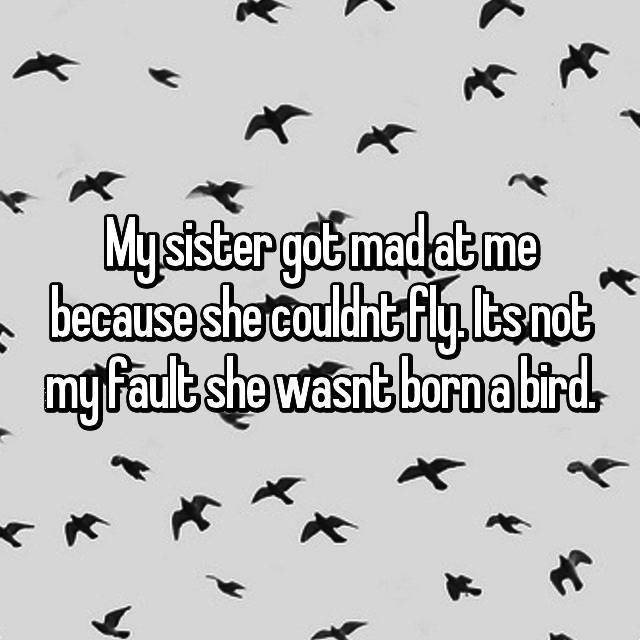 My sister got mad at me because she couldnt fly. Its not my fault she wasnt born a bird.
