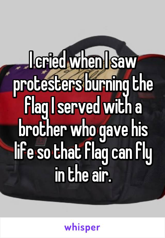 I cried when I saw protesters burning the flag I served with a brother who gave his life so that flag can fly in the air.