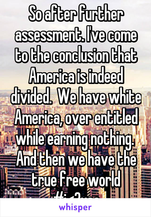 So after further assessment. I've come to the conclusion that America is indeed divided.  We have white America, over entitled while earning nothing.  And then we have the true free world #i<3usa
