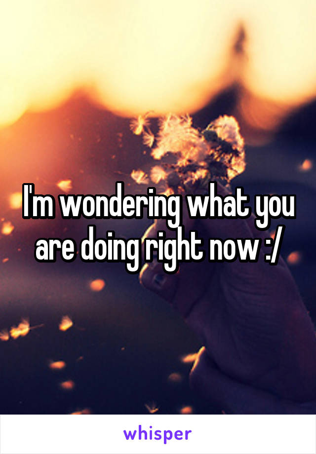 I'm wondering what you are doing right now :/
