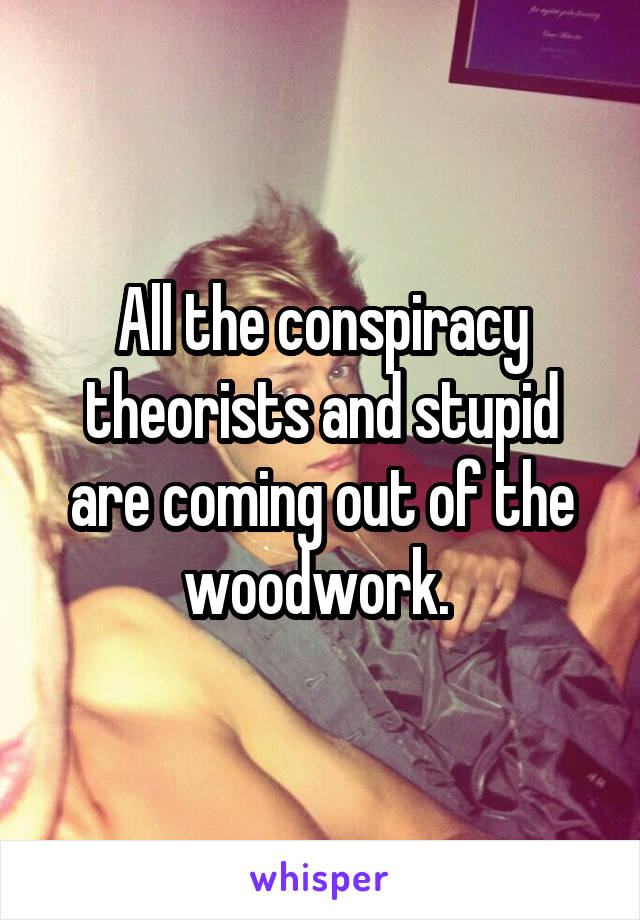 All the conspiracy theorists and stupid are coming out of the woodwork.