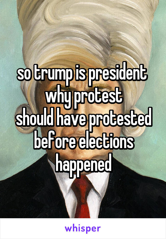 so trump is president  why protest should have protested before elections happened