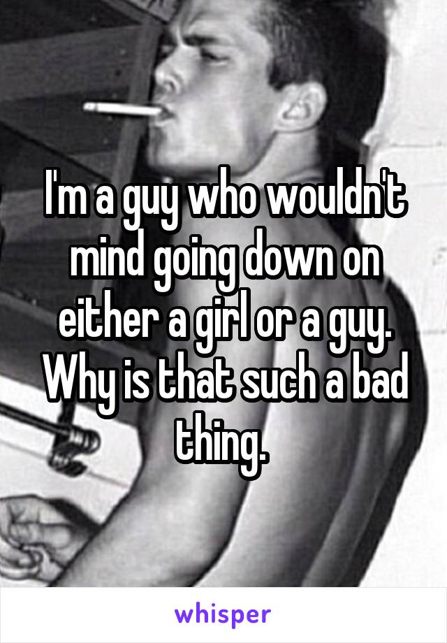 I'm a guy who wouldn't mind going down on either a girl or a guy. Why is that such a bad thing.