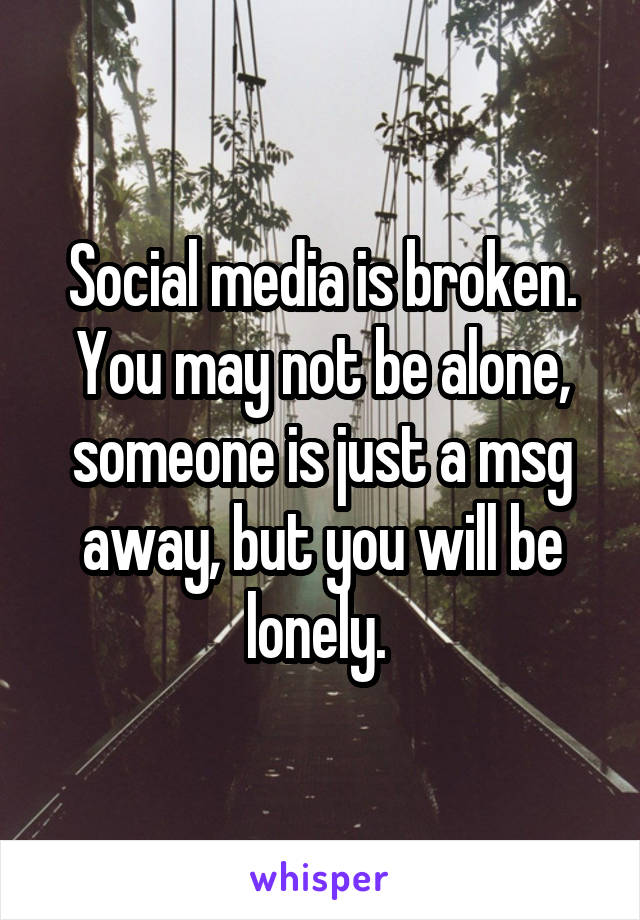 Social media is broken. You may not be alone, someone is just a msg away, but you will be lonely.
