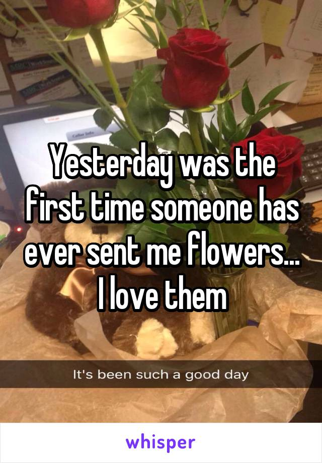 Yesterday was the first time someone has ever sent me flowers... I love them
