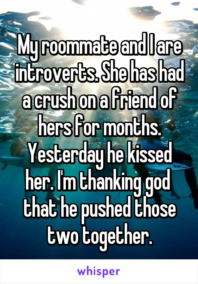 My roommate and I are introverts. She has had a crush on a friend of hers for months. Yesterday he kissed her. I'm thanking god  that he pushed those two together.