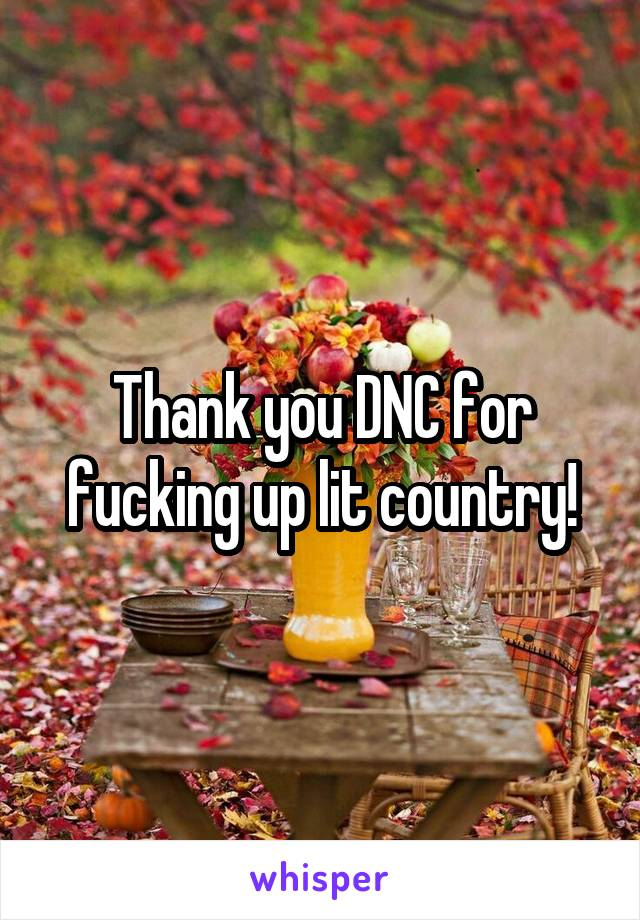 Thank you DNC for fucking up lit country!