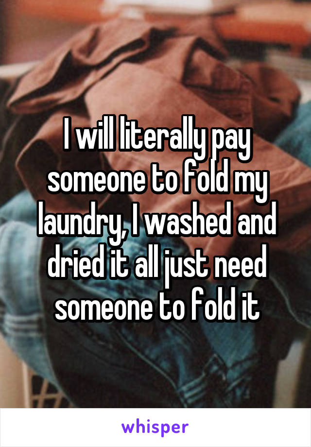 I will literally pay someone to fold my laundry, I washed and dried it all just need someone to fold it