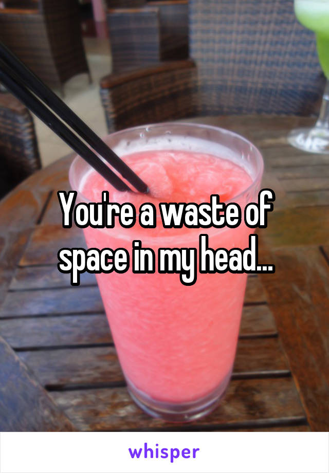 You're a waste of space in my head...