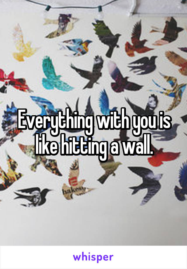 Everything with you is like hitting a wall.
