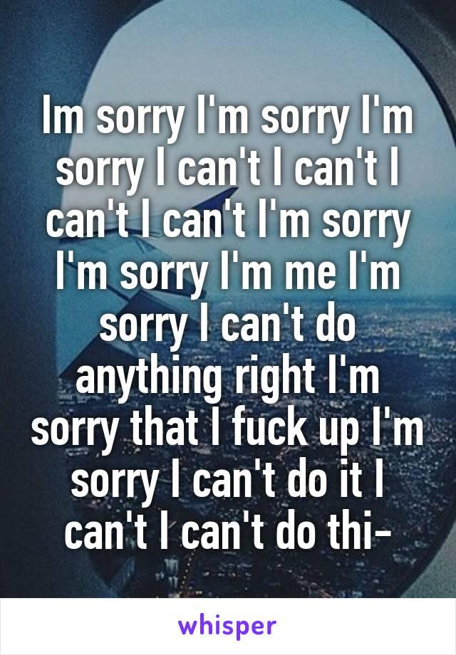 Im sorry I'm sorry I'm sorry I can't I can't I can't I can't I'm sorry I'm sorry I'm me I'm sorry I can't do anything right I'm sorry that I fuck up I'm sorry I can't do it I can't I can't do thi-