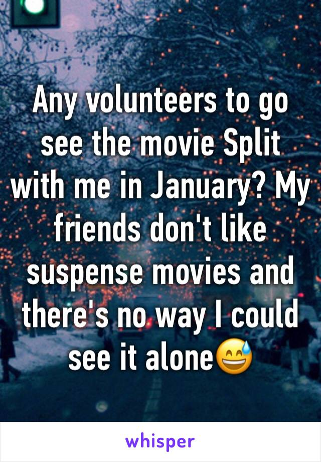 Any volunteers to go see the movie Split with me in January? My friends don't like suspense movies and there's no way I could see it alone😅