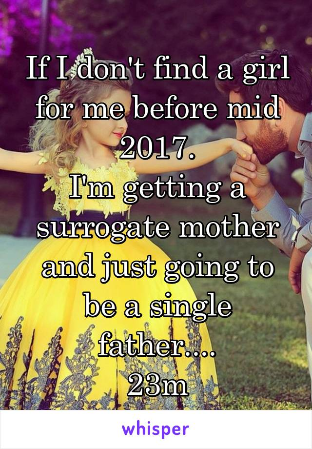If I don't find a girl for me before mid 2017. I'm getting a surrogate mother and just going to be a single father.... 23m