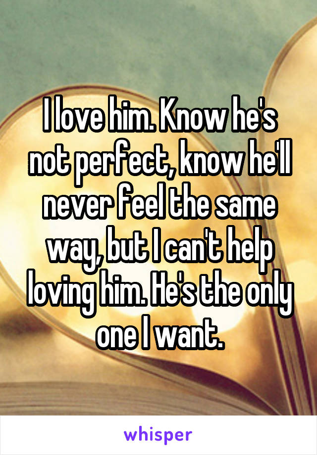 I love him. Know he's not perfect, know he'll never feel the same way, but I can't help loving him. He's the only one I want.